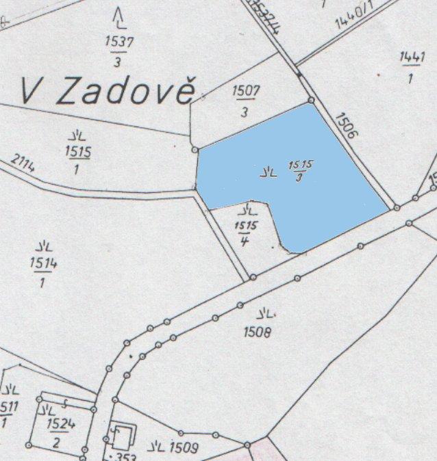 snímek katastrální mapy se zákresem pozemku